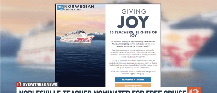 Noblesville teacher nominated for free cruise